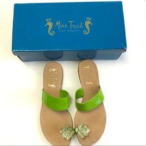 Miss Trish of Capri Lime Rhinestone Flower Sandals